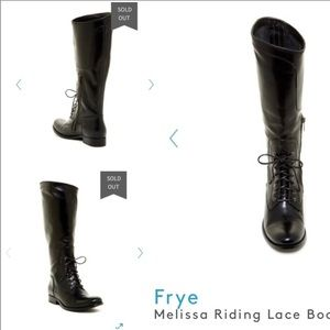 Frye 7.5 Black Melissa Lace Riding Boot #76937